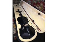 Delightful Looking 4/4 Full Size Beginners Black Acoustic Violin Set With Case Bow