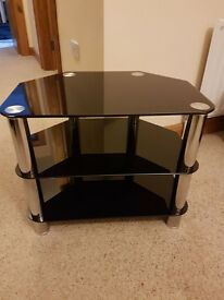 TV/media 3 shelf small, black glass and silver