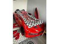 Kids electric race car bed