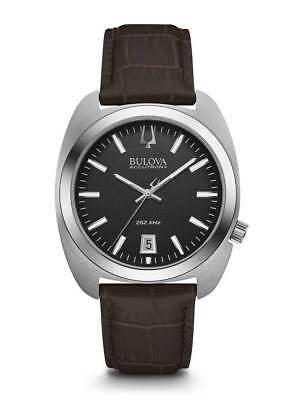 Bulova Accutron II Men's Quartz Black Dial Brown Leather Strap 40mm Watch 96B253