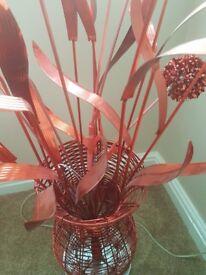 Aluminium red flower floor lamp