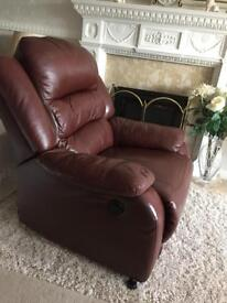 Leather recliner chair - electric