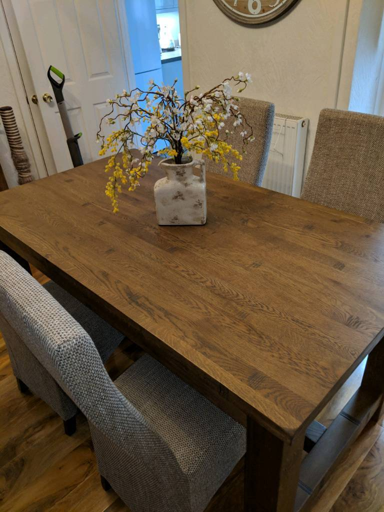 Admirable Rustic Oak Dining Table With Chairs Contemporary Modern Furniture In Pontypridd Rhondda Cynon Taf Gumtree Interior Design Ideas Clesiryabchikinfo