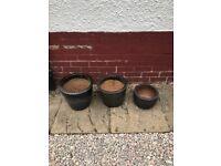 Black Planters-Set of three