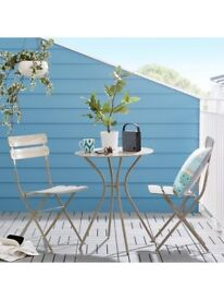 Brand New Metal Bistro Set Table With Folding Chairs Patio Balcony Garden Cafe
