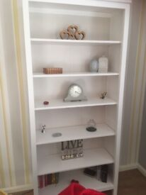 White immaculate tall wide bookcase