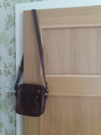 Dark brown small leather cross over bag