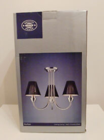 2 x 3 Way Satin Chrome Ceiling Light with Black Shades – New & Boxed