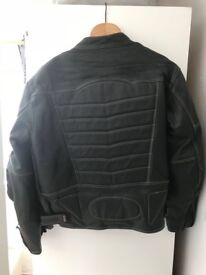 Xl black motor bike jacket with yellow stitching excellent con