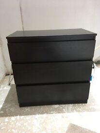 2 dark brown IKEA bedside tables