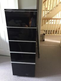VGC Dwell Maddison black glossy filing cabinet, tall b9y, chest of deep drawers