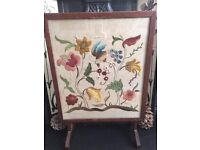 Fire guard / screen - wooden, floral tapestry, good condition