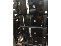 JOB LOT OF X5 HP WINDOWS 7 CORE 2 DUO DESKTOPS/ NOHDD/NO MEMORY BUT IS AVAILABLE FOR PURCHASE