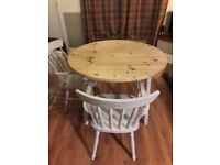 Shabby chic dining table and 2 chairs