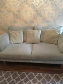 3 seater duck egg blue fabric sofa