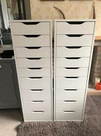 TWO Ikea Alex 9 Drawers in White RRP £180