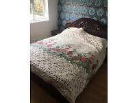 Brown Italian style bedroom furniture, bed wardrobe dresser, suite