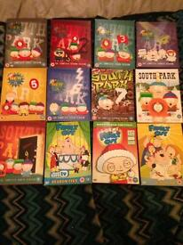 South Park and family guy DVDs