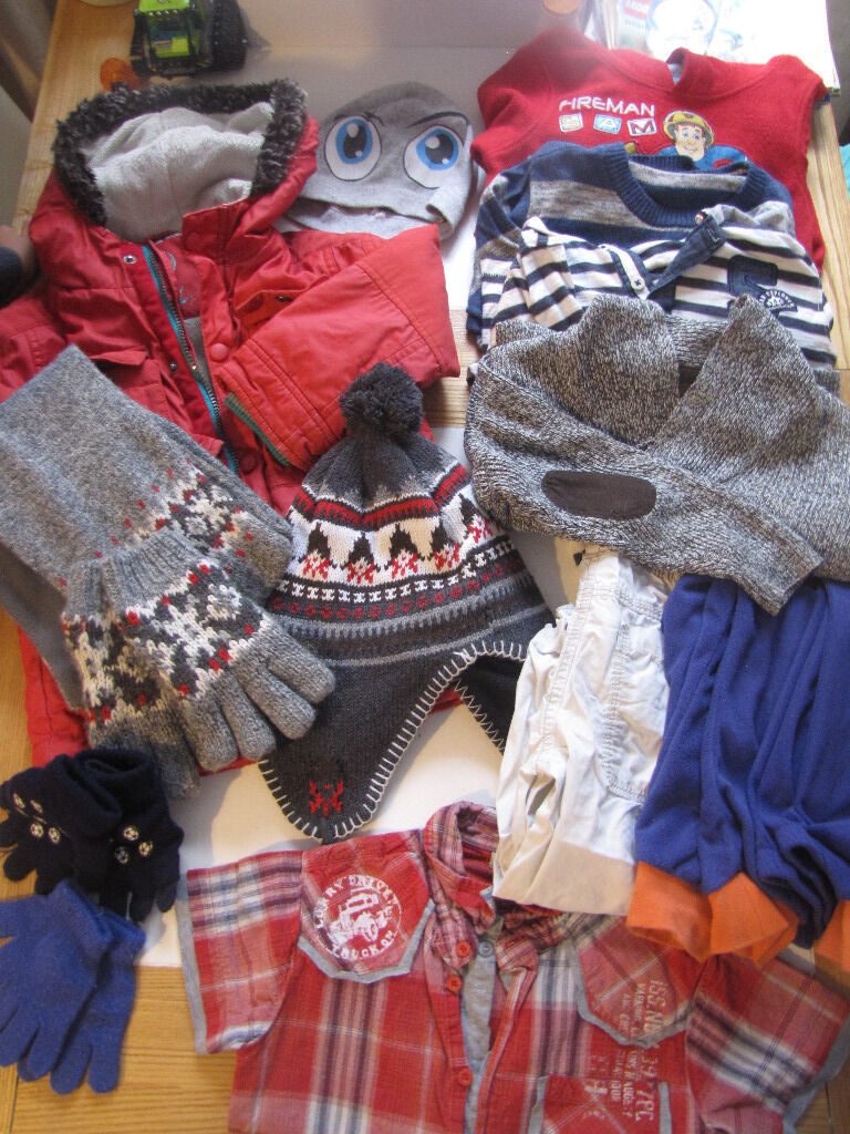 BOYS BUNDLE ( clothes AGE 2-3-4 and shoes slippers all size 9 )