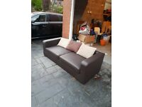 Chocolate brown 3 seater faux leather sofa