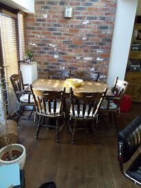 OAK DINING TABLE 4 CHAIRS AND TWO CARVERS