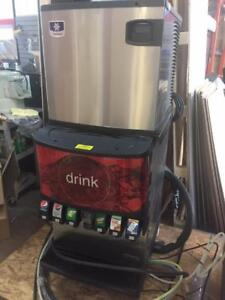 Soda and Ice Dispenser - Commercial ice machine with pop dispenser underneath