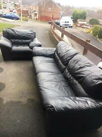 Black leather 4 seater sofa and chair