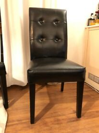 Two matching black faux leather Parsons Chairs - price for set of two