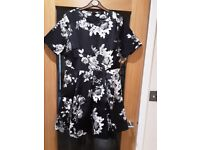 Definitions (Very) Black/White/Grey Satin Dress Size 14