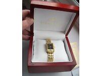 Klaus Kobec ladies watch - certified, gold plated with diamonds. Swiss movement