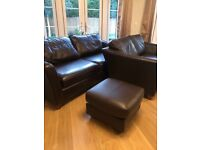 Two Marks & Spencer Leather Sofas and Footstool