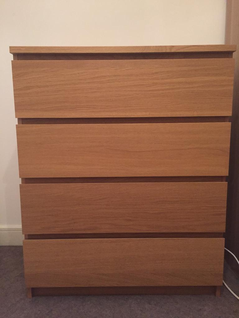 Chest Of 4 Drawers Ikea Malm Oak Veneer