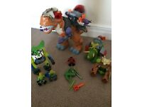 Imaginext dinosaurs and other figures