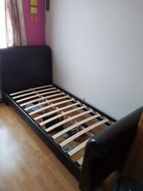 Single faux leather bed