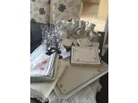 Dinner ware set crockery tableware cups saucers teapot napkins wine glasses & lots more IMMACULATE