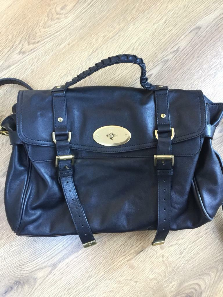 Black oversized crossbody bag real leather in the style of Mulberry Alexa  handbag tote ef39e479d0018