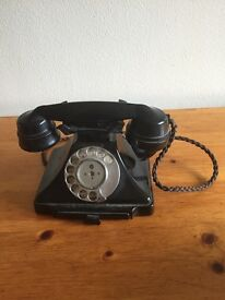 Bacolite old fashioned 1950 GOP original one black table phone one cream wall mounts