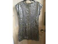 River Island sparkly gold mini dress size 8 perfect