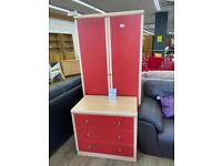 Red wardrobe and drawers set
