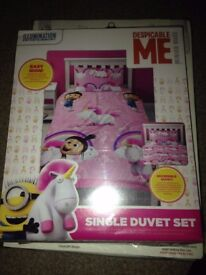 Dispicable me unicorn reversable single duvet set