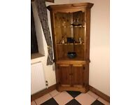 Antique pine corner unit with double doors and shelves
