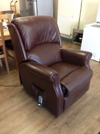 Brown Leather - Electric RISE AND RECLINER Mobility Armchair