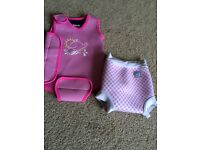 Baby girls happy nappy and swim warm suit 6/12months