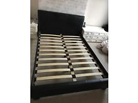 Double black faux leather bed frame