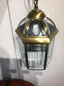 """Searchlight "" Porch orHall light pendant, brass finish with bevelled glass panels"