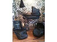 Babystyle prestige black leatherette fabric 3 in 1 pram