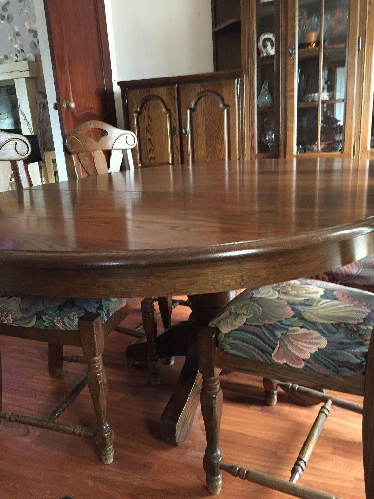 Oak dining table, 6 chairs and wall units. Reduced to \u00a3500 for quck sale.  in StokeonTrent