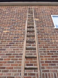 """Solid timber Double extension ladders. Good condition. 12'8"""" x 2. Always stored inside.Wired rungs."""
