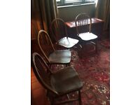 Victorian solid wood spindle back dining chairs