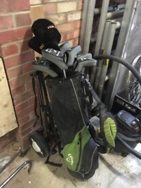 Full set of clubs with trolley